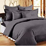 Trance Home Linen 210TC Cotton Double Fitted Bedsheet with 2 Pillow Covers (Steel Grey, 78x60-inch)