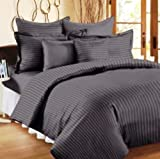 Trance Home Linen 100% Cotton 210 TC Queen Double Fitted Bedsheet 78' * 60' with 2 pillow covers (Steel Grey)