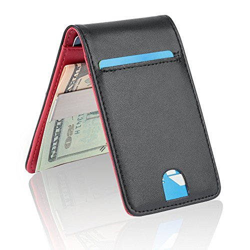 YOOMALL Leather Money Clip Wallet for Men RFID Blocking Minimalist Card Holder Slim Front Pocket Wallets