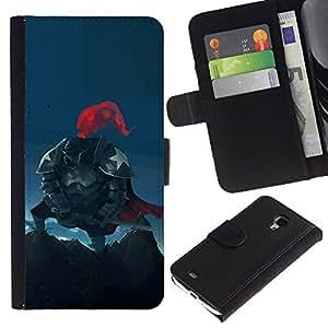 YiPhone /// Tirón de la caja Cartera de cuero con ranuras para tarjetas - Americana Caballero - Samsung Galaxy S4 Mini i9190