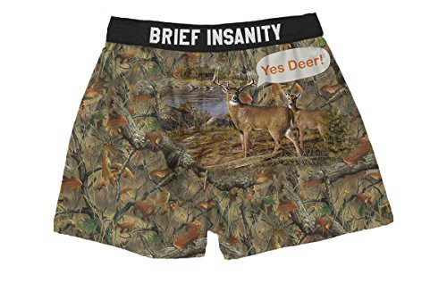 Brief Insanity Yes Deer Silky Funny Boxer Shorts Gifts for Men Dad Husband Brother