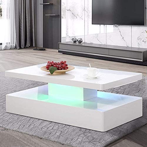 Mecor Modern Glossy White Coffee Table W/LED Lighting - the best living room table for the money