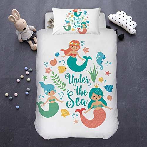 Under The Sea Kids Bedding - ARIGHTEX Cartoon Mermaid Duvet Cover, Sea Turquoise Girl Soft Bedding, Under Water Bed Set, Decorative Bedspread, 2 Piece (Twin)