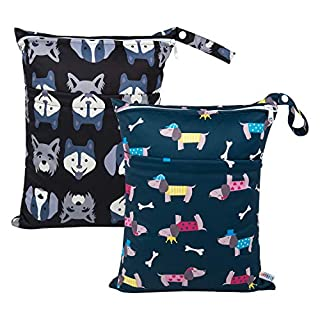 ALVABABY 2pcs Cloth Diaper Wet Dry Bags Waterproof Reusable with Two Zippered Pockets Travel Beach Pool Daycare Soiled Baby Items Yoga Gym Bag for Swimsuits or Wet Clothes L93107