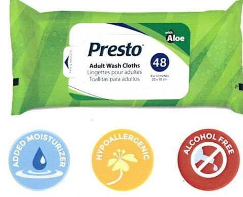 Presto Plus Hypoallergenic Adult Wash Cloths - 8