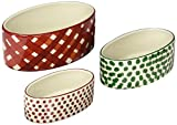 Creative Co-Op 6'', 5'' & 4''L Stoneware Oval Ramekin with Botanical Holiday Design (Set of 3), Multicolor