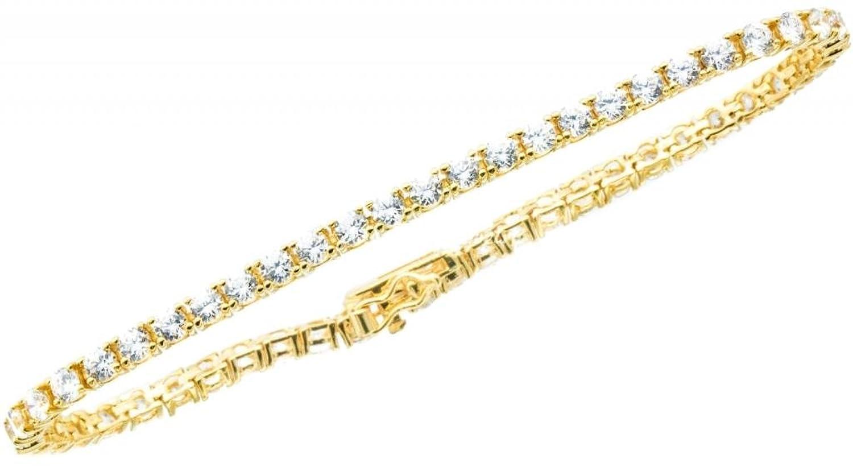 Ladies 5.00CTW Cubic Zirconia 14K Gold-Plated Brass Tennis Bracelet 5-10 Inches