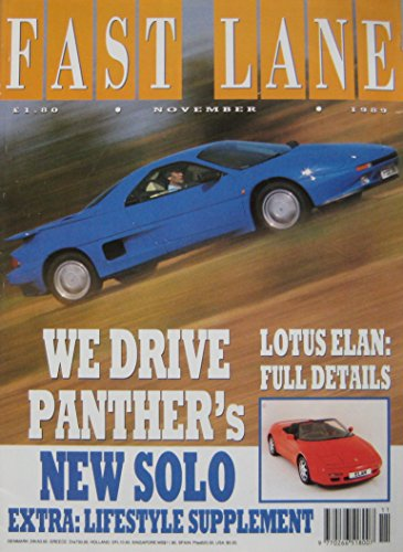 FAST LANE magazine back issue 11/1989 No 68 Panther Solo, Porsche, Jaguar, MG, BMW, VW, Vauxhall