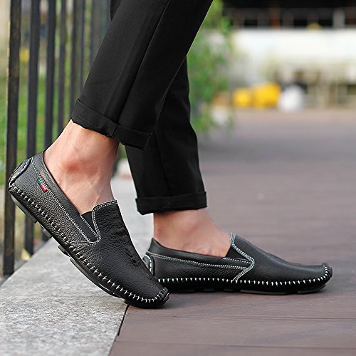 Sunrolan Mens Business Classica Mönster Läder Formella Platta Loafers Halka På Att Köra Mockasiner Skor Svart