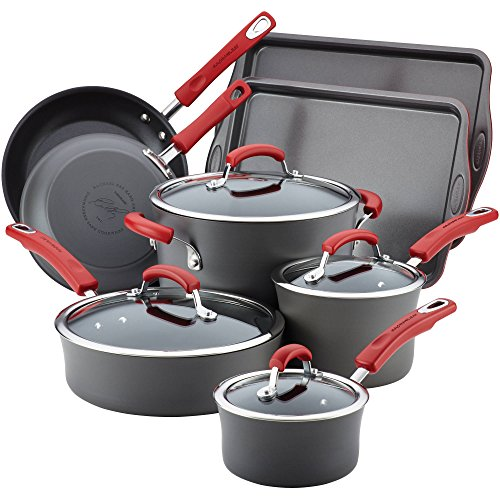Rachael Ray Hard-Anodized Nonstick 12-Piece Cookware Set, Gray with Red Handles ()