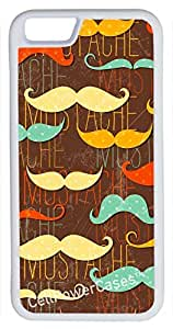 iPhone 6 Case, CellPowerCasesTM Mustache Background -\xa0iPhone 6 Plus (5.5) White Case [iPhone 6 (5.5) V1 White]