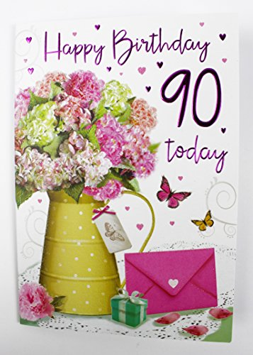 Happy 90th Birthday Greeting Card Ladies Womens Her Quality Verse Milestone Age Amazoncouk Office Products