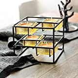 Moseley Cube Tealight Candles Holder, Candelabra with 4 Glass Bases, Modern Simple Decorative Candle Holder, Size 5''x5''x4'', Black