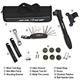 Balala Bike Repair Kit, Multi-Function Bicycle Cycling Mechanic Repair Tool, Mini Bike Pump & Mounting Bracket & Allen Wrench & Repair Tool Kit & Metal & Tire Levers & Screw & Glueless Patches & Ball