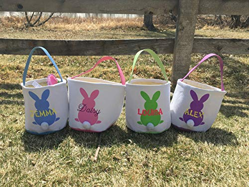 Personalized Easter Basket for Kids, embroidered Pink Girls and Boys Toddler gift bags baby blue green ()