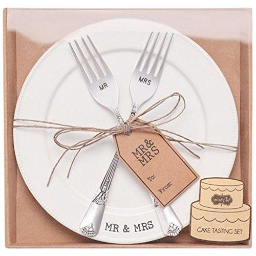 (Mud Pie Mr. & Mrs. Plate & Fork Set,)