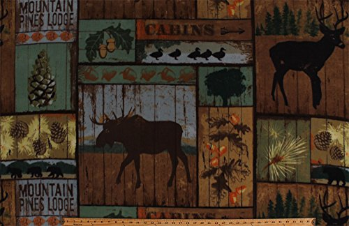Fleece Mountain Pines Lodge Cabins Woods Bull Moose Deer Bears Ducks Animals Wildlife Hunting Camping Up North Acorns Pinecones Nature Outdoors Fleece Fabric Print by the Yard (AL-3160-MA-1MULTI) (Hunting Fleece Fabric)