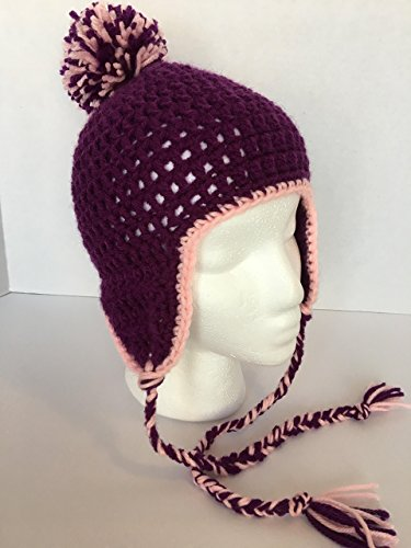 Kids Trim Brim Hat (New, Handmade Crocheted Little Girl's Beanie with Ear Flaps, Purple with Pink Trim, Purple & Pink Pom Pom, with Braided Ties, hat measures 20