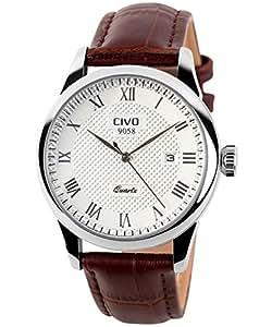 CIVO Mens Watches Leatehr Waterproof Watch Men Roman Numeral Date Calendar Simple Design Wrist Watches Casual Business Dress Fashion Classic Analogue Quartz Watches for Men