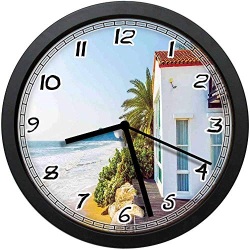 BCWAYGOD Coastal Charm Themed Beach House Porch View Moroccan Style Architecture Island Artsy Print Non-Ticking Wall Clock Silent Home Decor Battery Operated Clock 10 -