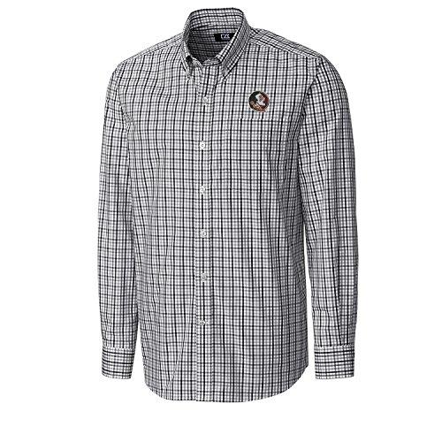 Cutter & Buck NCAA Florida State Seminoles Men's Long Sleeve Gilman Plaid Shirt, Large, Black (Athletic Embroidered T-shirt)