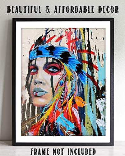 Native American Princess- Abstract Watercolor Portrait Print-8 x