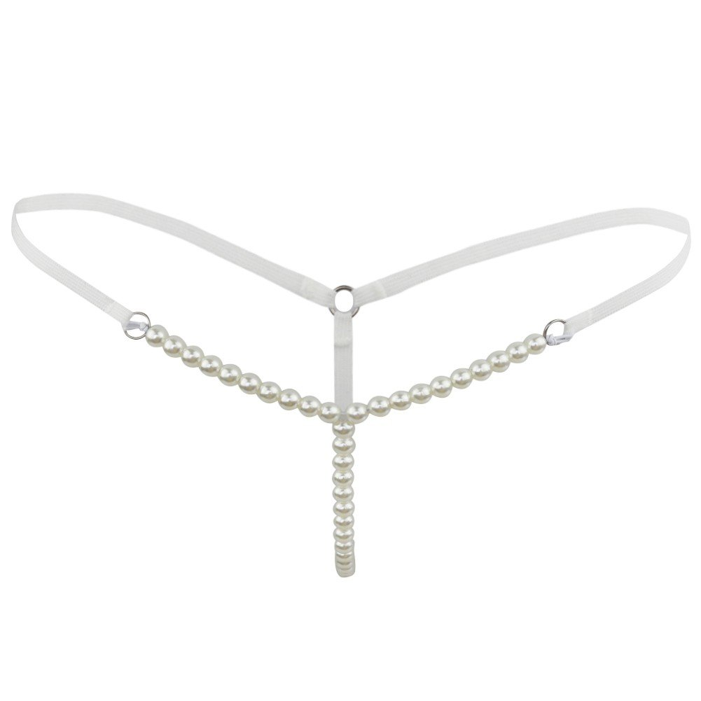 Agoky Womens Sexy Pearls G-String Massage Thongs Panties Stretchy Tangas Lingerie White One Size