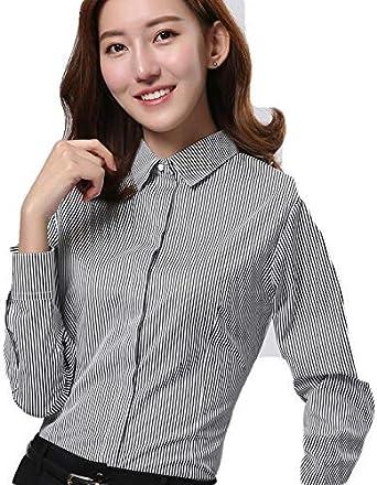 Blusas Y Camisas para Mujer Camisa Blanca De Mujer Autocultivo A Rayas Femenino@Figura_40: Amazon.es: Ropa y accesorios
