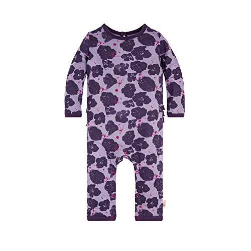 (Burt's Bees Baby Baby Girl's Romper Jumpsuit, 100% Organic Cotton One-Piece Coverall, Purple Poppies, 12 Months)