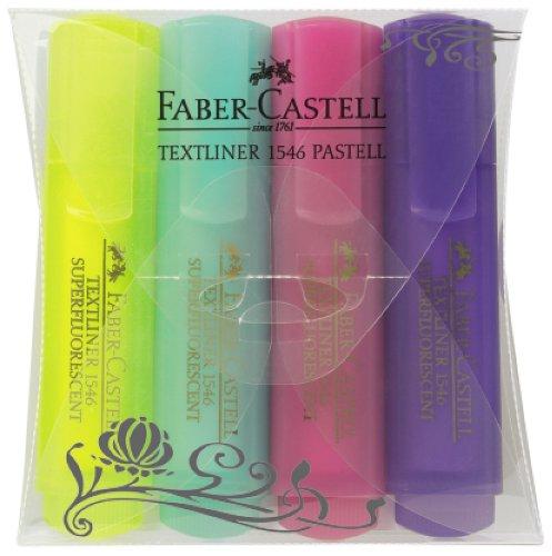 Faber-Castell 154610 - Textmarker TEXTLINER 1546 pastell, 1 - 5 mm, 4er Etui, Inhalt: je 1x gelb, mint, fuchsia und lila