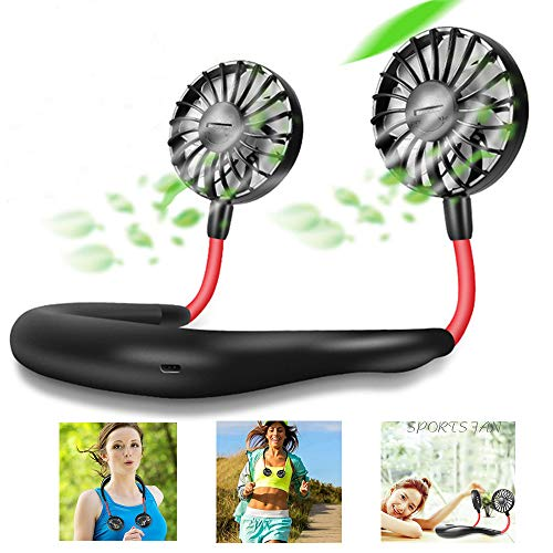 Portable Fan USB Rechargeable Mini Hand Free Personal Fan 2200mA 3 Adjustable Speed Wearable Neckband Fan for Camping Traveling Office Room Outdoor - Black -