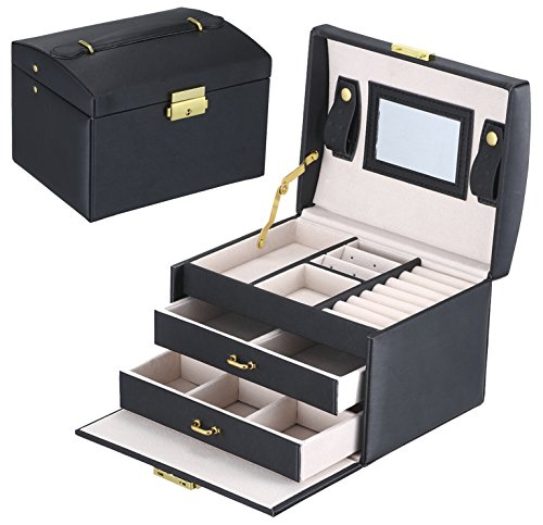 Goldwheat Jewelry Box with Lock and Mirror Lockable Travel Jewelry Organizer Gift for Women, Black
