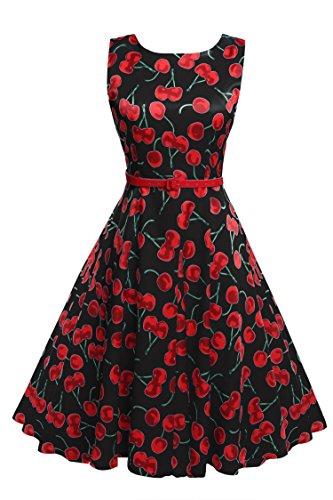 Sleeveless Cotton Vintage Tea Dress With Belt¡