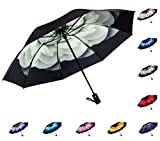 Fidus Inverted Reverse Sun&Rain Car Umbrella Large Windproof Travel UV Umbrella for Women Men - Auto Open Close(Lily)
