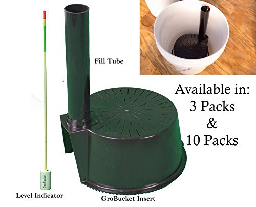 GroBucket Garden Kit (3PK) Self Watering sub-irrigated planter insert. Turn any bucket into a Self Watering Container Garden. Create an indoor or outdoor, space saving and portable garden in minutes. Self Watering Garden Planters