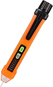 Non Contact Voltage Tester Pen Flashlight, Electric AC Voltage Detector Pen, Electrical 12-1000V compact pocket battery Multimeter voltage tester inductive with Buzzer Alarm with Alarm Mode Live