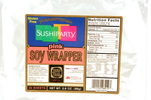 Sushi Party Soy Wrapper (Pink / 20-ct) - 2.8oz [Pack of 3] (Paper Soy)