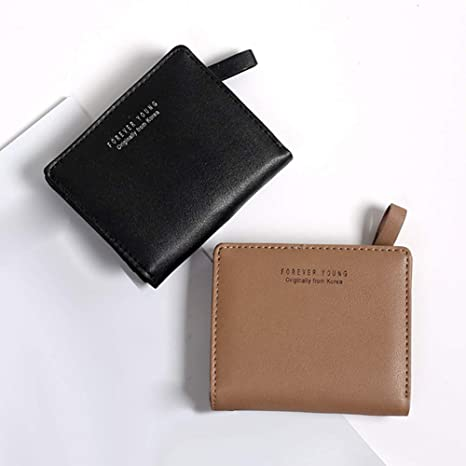 Women Letter Print Solid Color Faux Leather Short Wallet ...