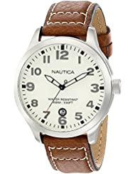 Nautica Mens N09560G BFD 101 Stainless Steel Watch with Brown Leather Band