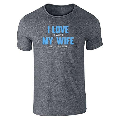 Pop Threads I Love (When) My Wife (Gets Me A Beer) Dark Heather Gray 2XL Short Sleeve T-Shirt by Pop Threads
