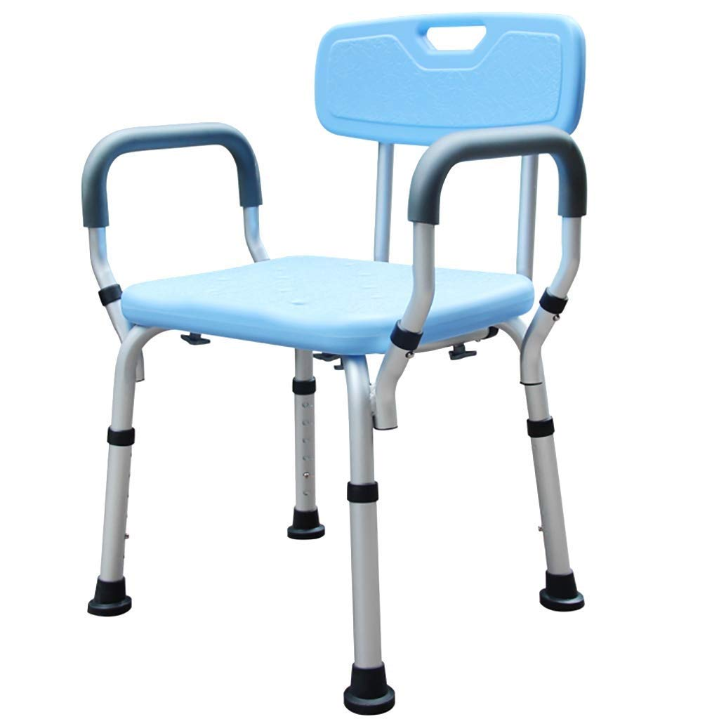 BEAUTY--shower stool Elderly Non-Slip Bathroom Assist Seat Pregnant Woman Bath Chair with Backrest,6 Height Adjustable