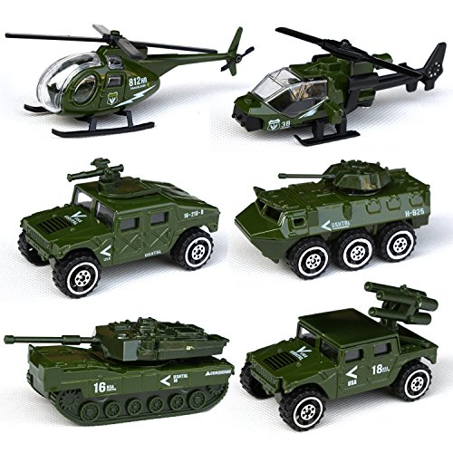 Tianmei 6 Cars in 1 Set Military styling 1:87 Alloy Diecast Vehicle Models Collection Kids Toy, Armament series Helicopter Tank Jeep Truck Armored Car (6pieces - ()