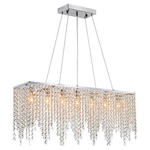 APBEAM Modern Contemporary Linear Rectangle Island Elegant K9 Crystal Glass Chandeliers Crystal Droplets Pendant Suspension Lamp Light Fixture Hanging for Dining Room Kitchen Island Over Table