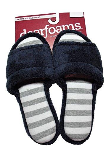 Dearfoams Womens Microfiber Velour Slide Slippers Navy Blue Grey Stripe Peacoat 5gWKAgE