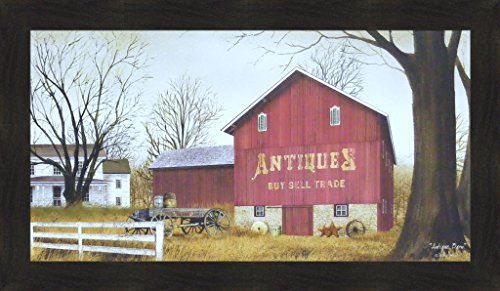 (Antique Barn by Billy Jacobs 20x34 Farm Wagon Primitive Folk Art Country Print Wall Décor Framed Picture)