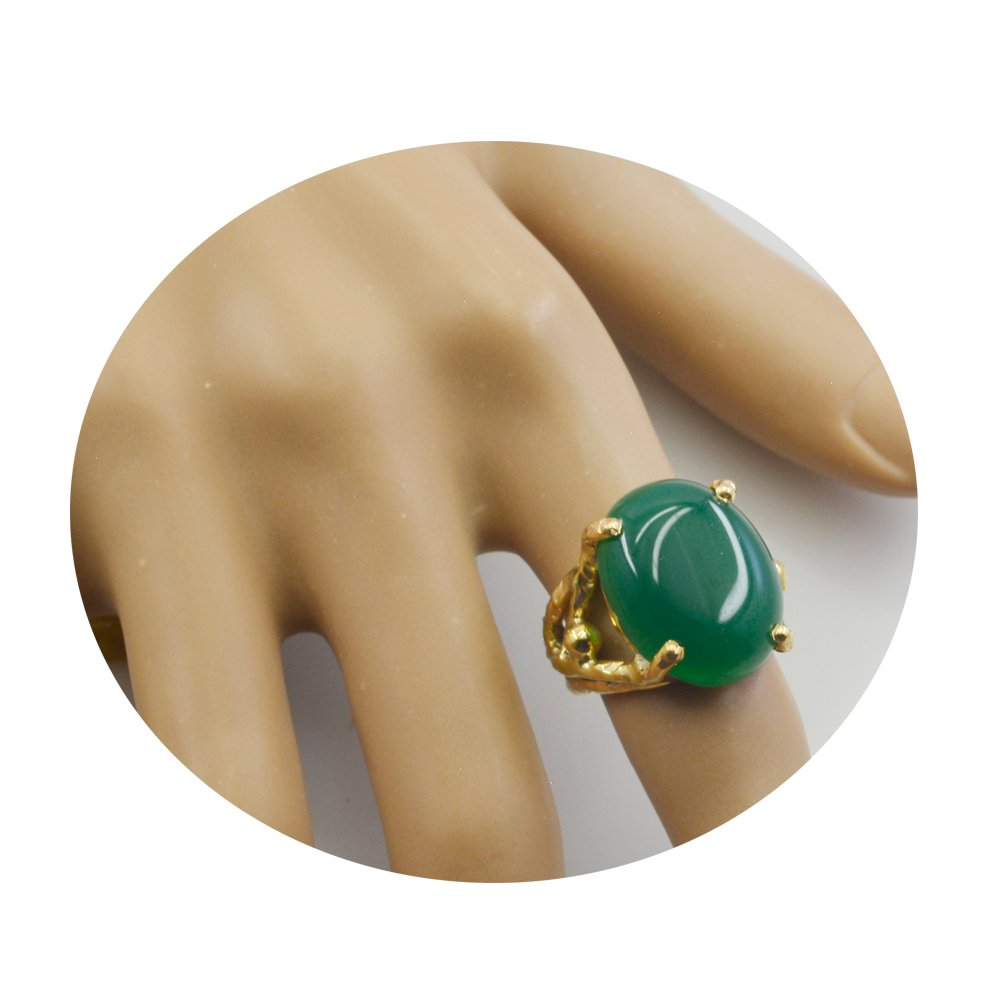 Natural Green Onyx Gold Plated Ring For Woman Round Shape Chakra Healing Fashion Size 5,6,7,8,9,10,11,12