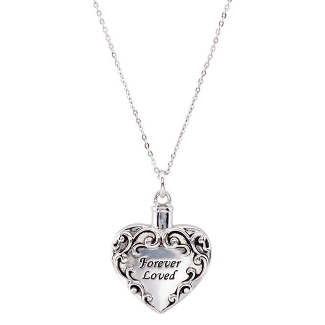 Sterling Silver Heart Shaped Forever Loved Ash Holder Necklace With 18'' Chain