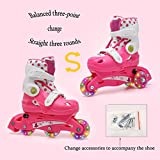 YANGXIAOYU Adult Beginner Children's Three-Point Balance Skates, Professional Roller Shoes, Two in One, Anti-Collision Shock All Flash Wheel, Helmet + Protective Gear, Blue Red Pink