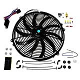 "SWPP 140041 16"" Heavy Duty 12V Radiator Electric Wide Curved S Blade FAN & Thermostat Kit, 3000 CFM Reversible Push or Pull with Mounting Kit"