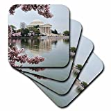 3dRose Danita Delimont - Memorials - Washington DC, Jefferson Memorial and Tidal Basin with Cherry Blossoms - Coasters